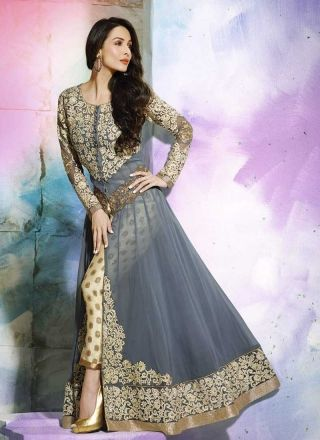Malaika Grey Georgette Cream Resham Embroidery Work Anarkali Suit