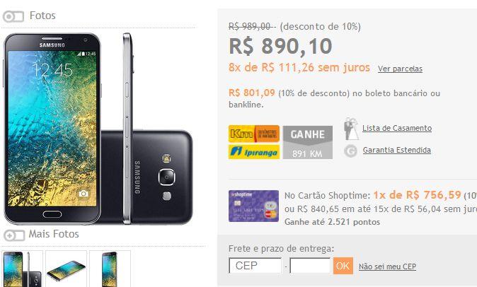 "Samsung Galaxy E7 Dual Chip Desbloqueado Android 4.4 Tela 5.5"" 16GB 4G Wi-Fi Câmera 13MP << 72098 >>"