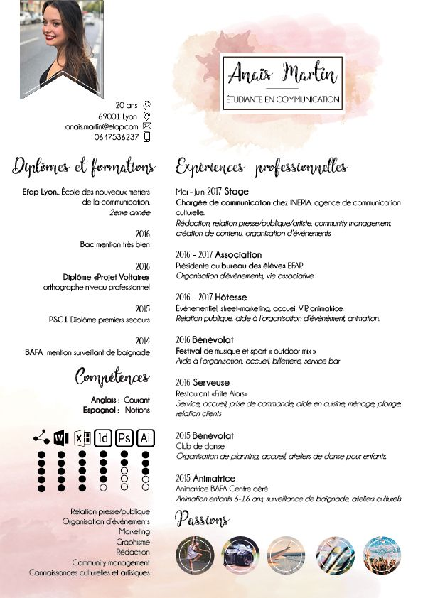 CV créatif original artistique artisitic étudiant communication stage design model template art  girl femme graphiste