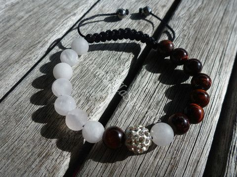 Yin Yang Red Tigers Eye and Matte Rose Quartz Shamballa Bracelet
