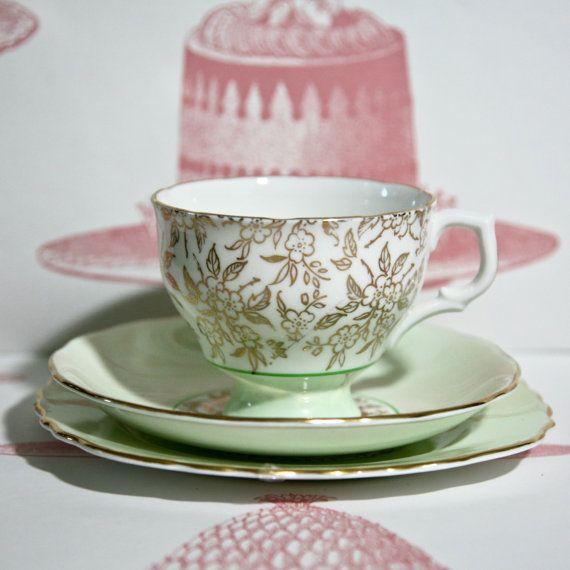 Vintage Soft Mint Green and Gilt Teacup Saucer