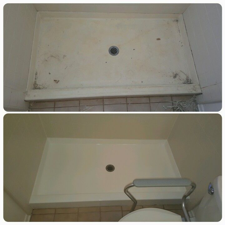 fiberglass shower pans come out like new when reglazed by a
