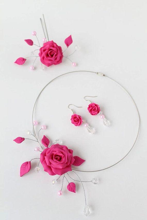 Halskette, Ohrringe, Haarschmuck, Fimo Blumen,Blumen, Rose. Brautschmuck