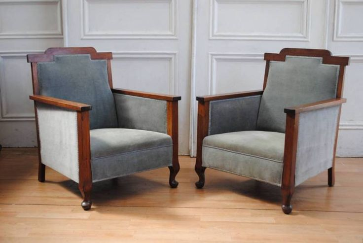 Handsome Pair Antique Federation Style Fireside Chairs Featuring sturdy hardwood frames with cabriole style carved legs and a stained and polished finish to ..., 1164332017