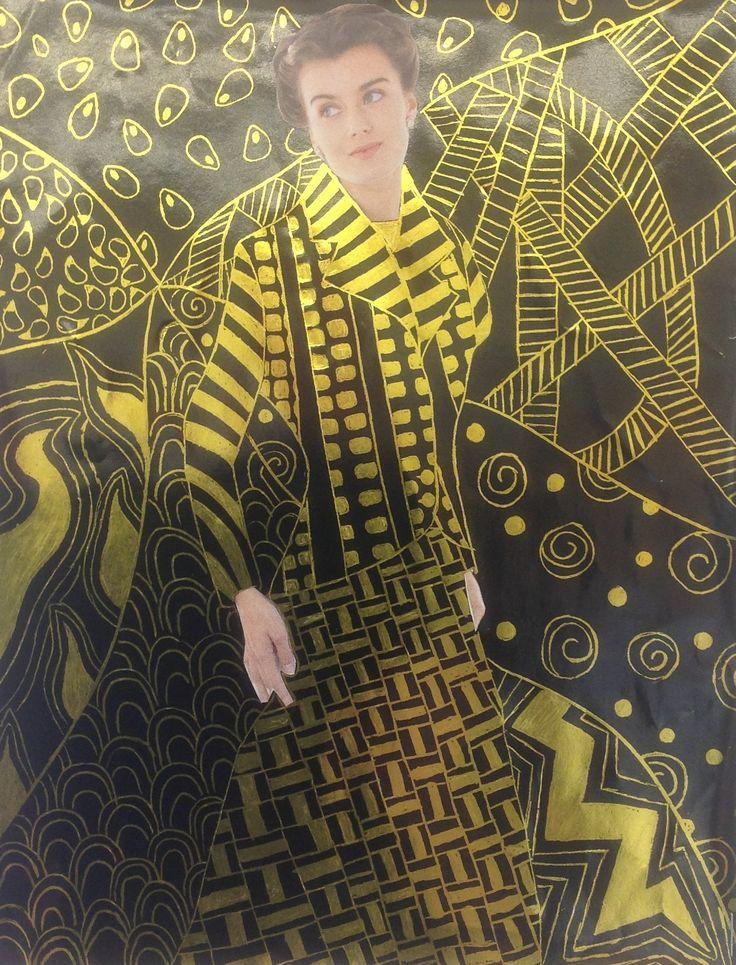 Gustav Klimt inspired scratch art.