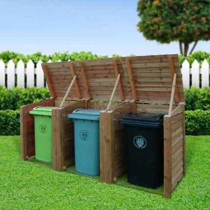 The Morcott triple wheelie bin storage unit is constructed from the same heavy duty 3x3 posts and featheredge board as our log stores and features weather resistant galvanised fixings, handles and hooks. Perfect for the busiest of households. The design makes the unit free standing with no need to be placed against a wall or secured to the ground and is available in 1, 2 or 3 unit versions and also as a matching recycling unit. Standard UK Delivery - £30
