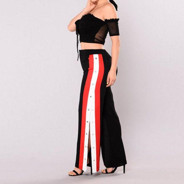 Better Price $10.03, Buy New Fashion Women High Waist Cut off Rivet Button Split Side Pants Loose Causal Patchwork Wide Leg Pants Capris Trousers Rompers