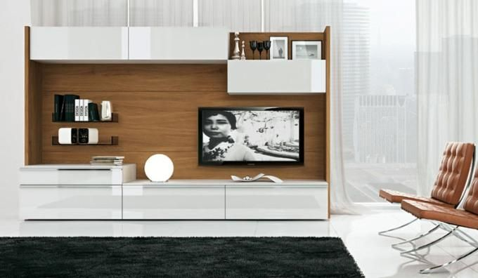 Современные стенки под телевизор белая с элементами дерева
