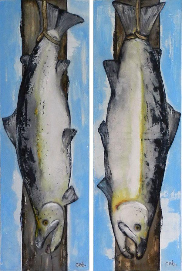 Malerier 2 stk.: Laks 1 og 2 Drømmefangst for enhver lystfisker