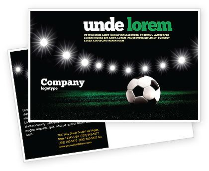 This is a Postcard Template #06916 for football, soccer, football teams, football league championships, football cup, FIFA world cup, etc. http://www.poweredtemplate.com/brochure-templates/sports/postcards/06916/0/index.html