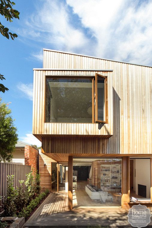 In line with the home's breathtaking interiors, the exterior of the extension is clad in tactile timber.