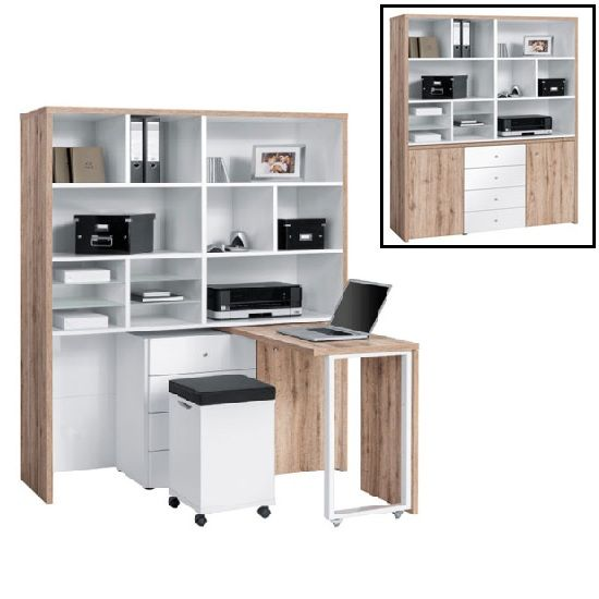 An All In One Mini Home Office Compact Multi Workstation Oak White Finish From The Maja Work Centre Collection