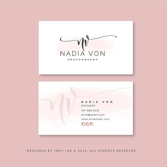 Business Card Design Premade Business Card Template Elegant Business Card Rose Go Business Cards Creative Watercolor Business Cards Rose Gold Business Card
