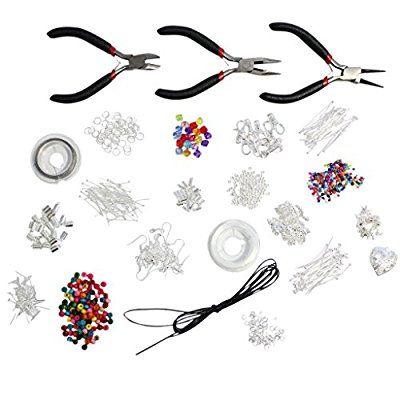 1000 pezzi Kit Starter per fare gioielli Alta Qualita - Reperti, Perline, Cordini, Tigertail, accessori placcati argento di Kurtzy TM