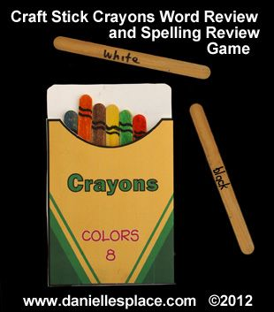Crayon Box and Crayons Craft Stick Craft and Spelling Game from www.daniellesplace.com