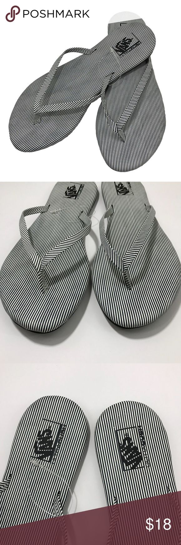 NWOT Vans Black White Striped Flip Flops 7 Vans flip flops/slippers sz 7. Black and white stripes. Synthetic upper, rubber outsole. NWOT - never worn. Vans Shoes Slippers