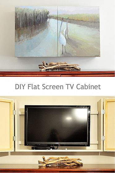DIY #FlatScreen #hidden with this clever custom made #TV Cabinet. When the doors are shut it looks like a piece of artwork hung on the wall.