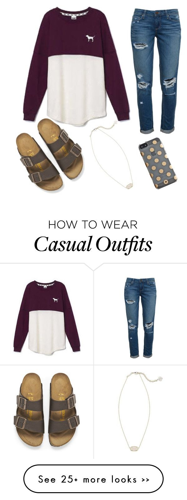 """casual day"" by jayfrancis on Polyvore featuring Victoria's Secret, Paige Denim, Birkenstock, Kendra Scott and Kate Spade"