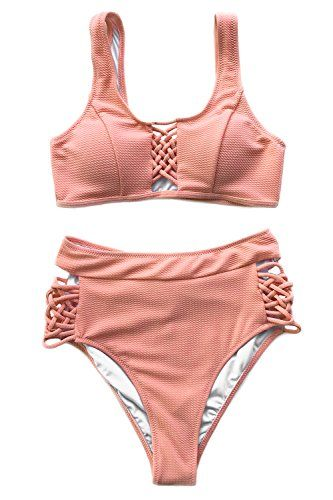 851635d98d9a4 Cupshe Fashion Women¡¯s Delicate Darling Lace up High-Waisted Swimsuit  Beach Swimwear Bathing Suit