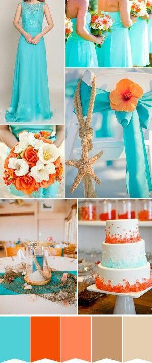 Turquoise and orange- Wedding Color Scheme