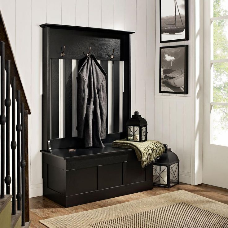 Entryway Hall Tree Storage Bench Coat Rack Stand Organizer Furniture Black/ White