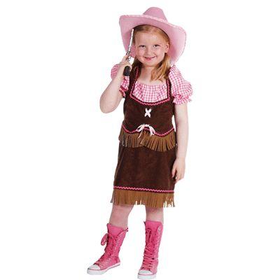 Cowgirl kostuum voor meisjes. Luxe cowgirl kostuum in de kleur bruin met roze.