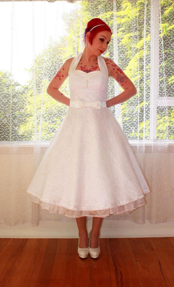 1950s Rockabilly Wedding Dress 'Clarissa' with Lace by PixiePocket, $320.00