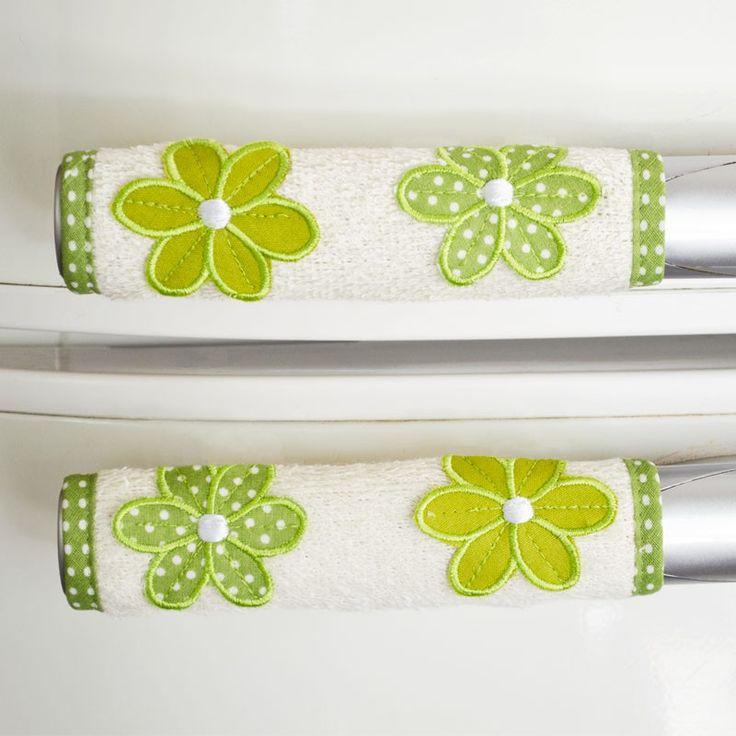 pegador de porta de geladeira bordado verde
