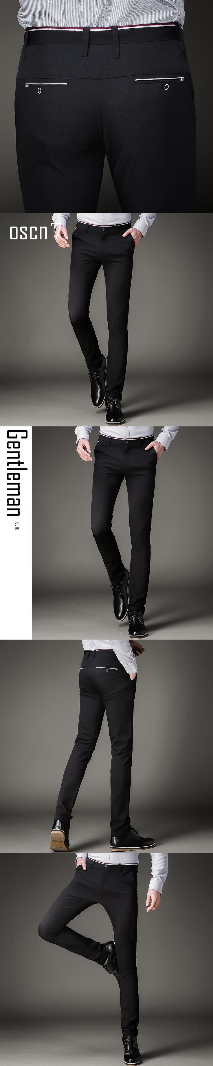 OSCN7 Black Elastic Perfume Masculino Slim Dress Pants for Men High Waist Business Mens Pants Formal Pantalon Homme Classique