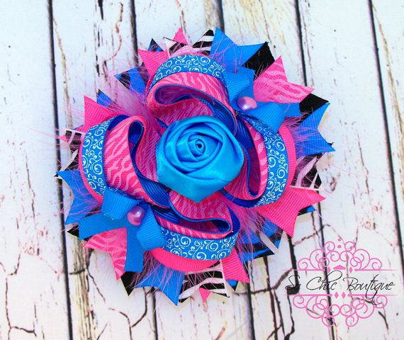 Hey, I found this really awesome Etsy listing at http://www.etsy.com/listing/124557585/hair-bow-pink-glitter-zebra-turquoise