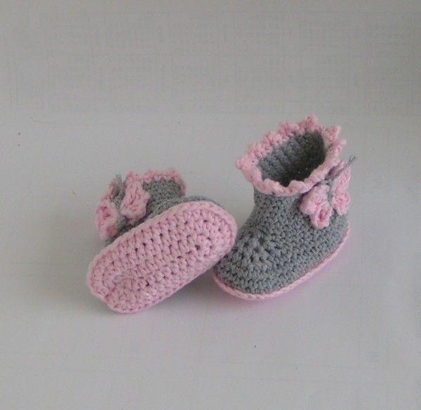 """Häkelanleitung Babyschuhe Booties """"Schmetterling"""""""