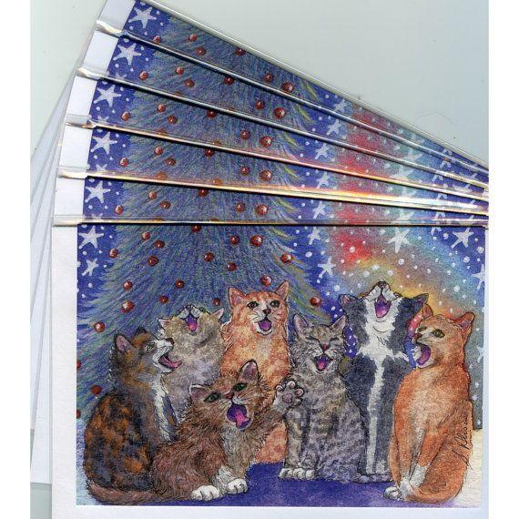 Meowy Christmas. - 6 x carol singing cat holiday greeting cards choir choral