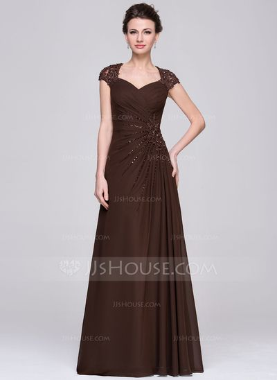 A-Line/Princess Sweetheart Floor-Length Ruffle Lace Beading Sequins Zipper Up Cap Straps Sleeveless No 2015 Chocolate Spring Summer Fall Winter General Plus Chiffon Mother of the Bride Dress