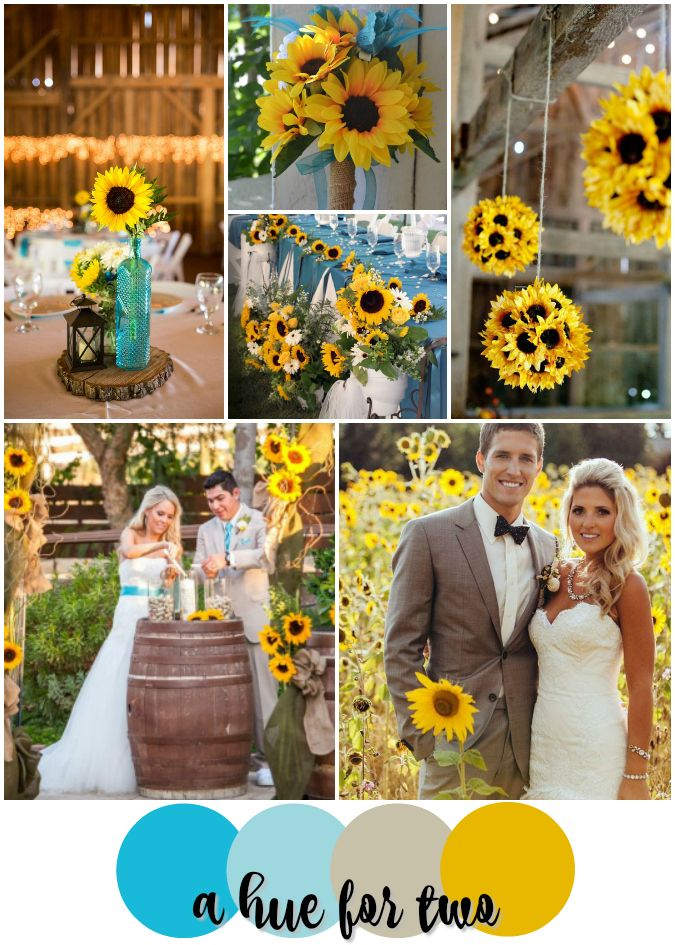 Turquoise and Sunflower Yellow Rustic Wedding Colour Scheme - Rustic Weddings - Country Weddings - Sunflowers - Summer Weddings - A Hue For Two | www.ahuefortwo.com