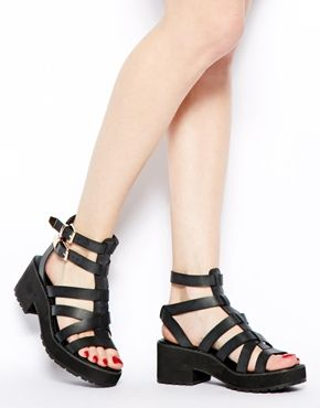 New Look Weighty Black Chunky Heeled Sandals