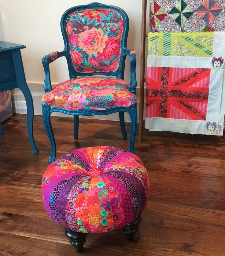 make tuffet to match a chair already in possession, and for the love of all things sacred and decorous, spend the extra money to make sure the leg styles and paint jobs match. Seriously.