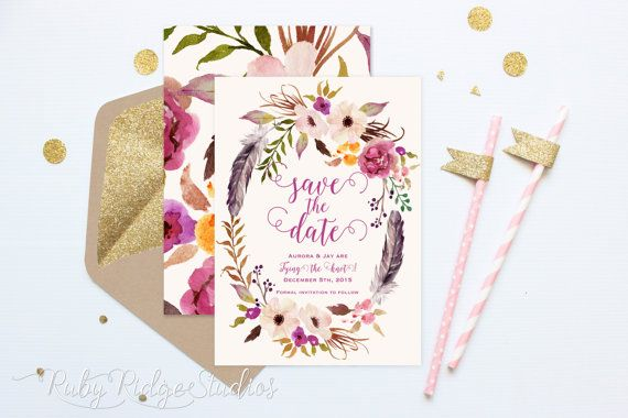 Printable Save the Date, Romantic Watercolor Floral, Bohemian Floral Style, Wedding Invitation, DIY Printable Invitations Save the Date