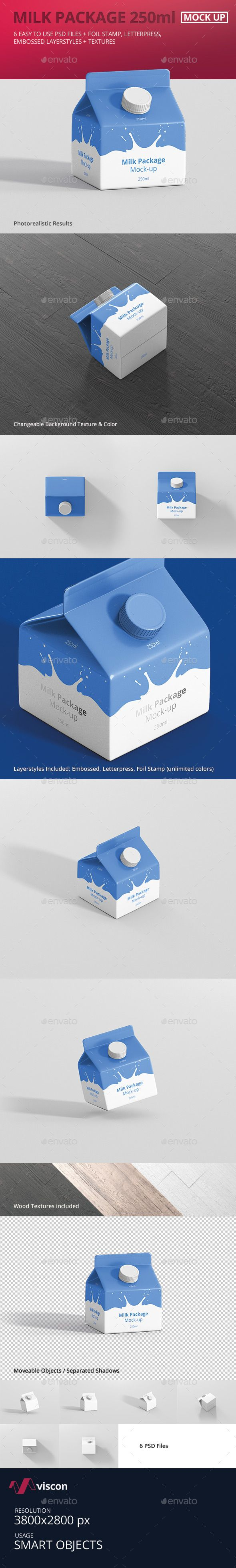 Juice / Milk Mockup - 250ml Carton Box by visconbiz 6 high quality 250ml juice / milk packaging mockup for print, portfolio, showcase, ads, banner and more. Organized and named layer