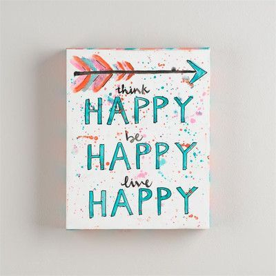 Glory Haus Think Happy Be Happy Framed Textual Art on Wrapped Canvas