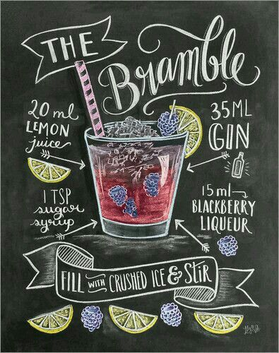 Gin cocktail the bramble- substitute simple syrup and lemon juice for sprite and a lemon wedge