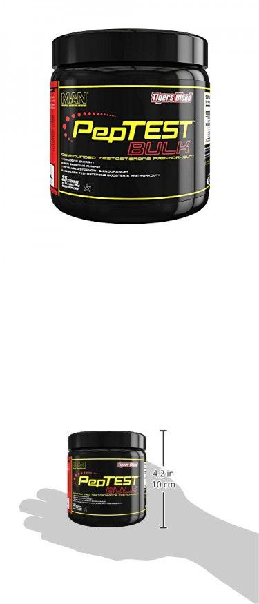 MAN Sports PepTest BULK 2-in-1 Pre-Workout + Testosterone Booster Supplement, Tigers Blood, 35 Servings, 280 Grams