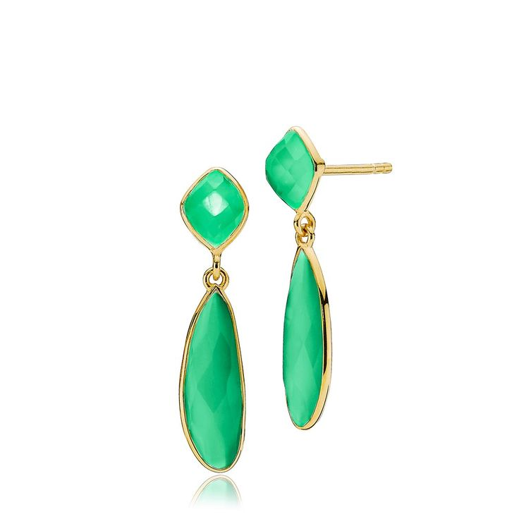 PRECIOUS earrings with beautiful green onyxes. The earrings are made of shiny gold plated sterling silver – Danish design jewelry by Izabel Camille. Price: EUR 105 No. A1412gs-green onyx   www.izabelcamille.com