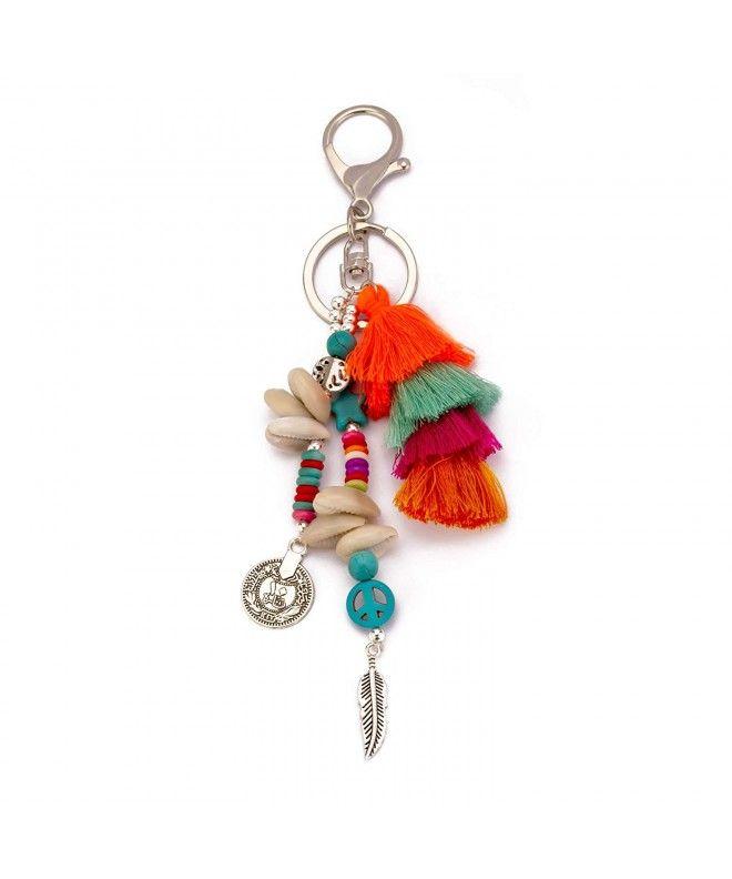 Handmade Statement Tassel Keychains Pom Pom Shells Stone Beads - Multi  Tassel - CE18INTSIL5 | Keychain, Stone beads, Birthday gifts for girls