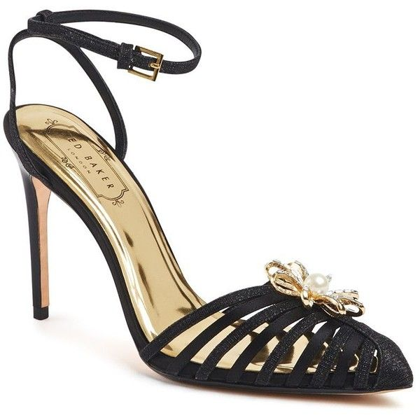 Ted Baker London Zhine Embellished Heel Sandals ($230) ❤ liked on Polyvore featuring shoes, sandals, black, black embellished sandals, high heel stilettos, floral sandals, padded sandals and floral shoes