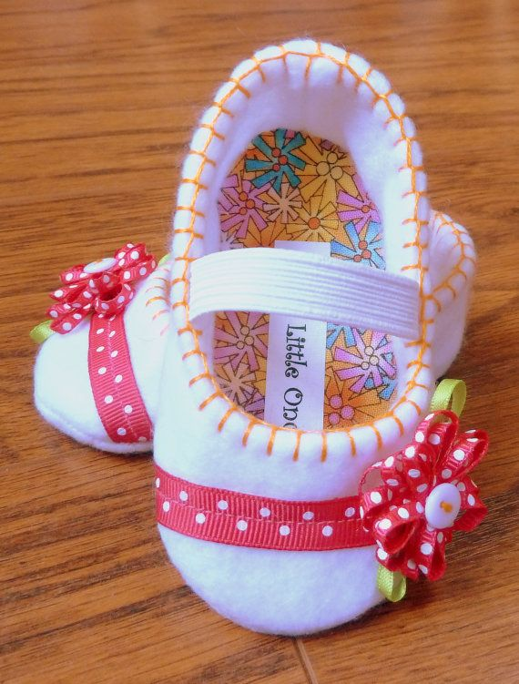 White mary janes with hot pink and orange by OnlyLittleOnce, $20.00