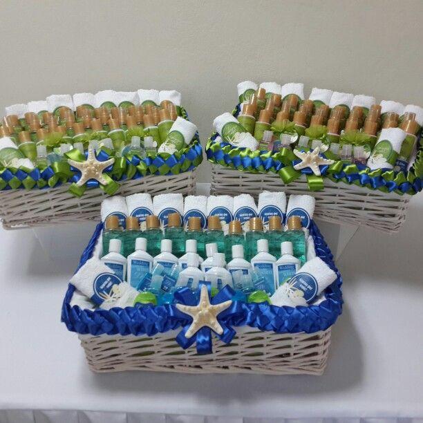 Canastas de ba o decoradas con tema de mar para boda y - Canastas de mimbre decoradas ...