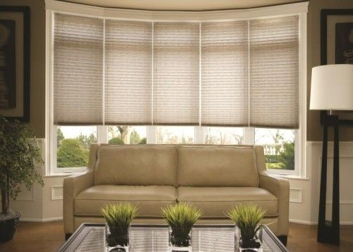 Window treatments for bay windows casual living room - Living room bay window treatments ...