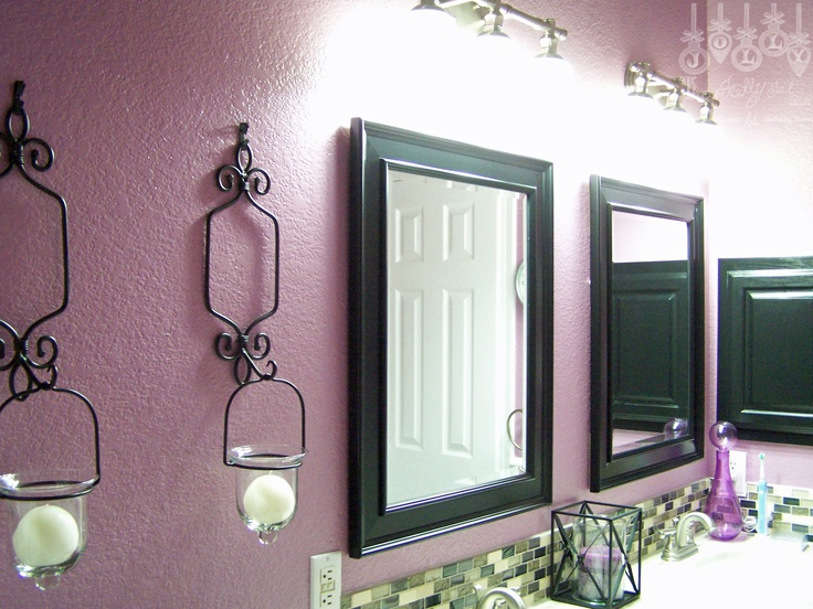 Our purple guest bathroom-mirrors, lights