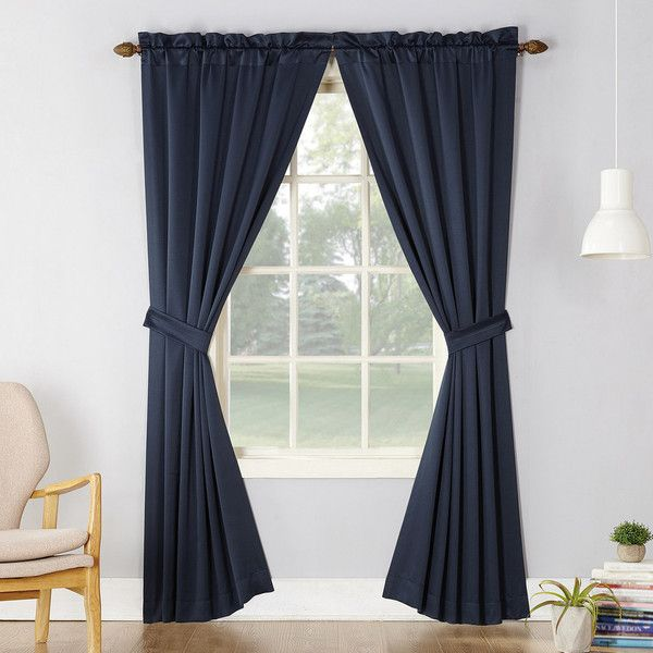 Sun Zero 2 Pack Essex Room Darkening Window Curtain ($25) ❤ Liked On  Polyvore Featuring Home, Home Decor, Window Treatments, Curtains, Blue, ...