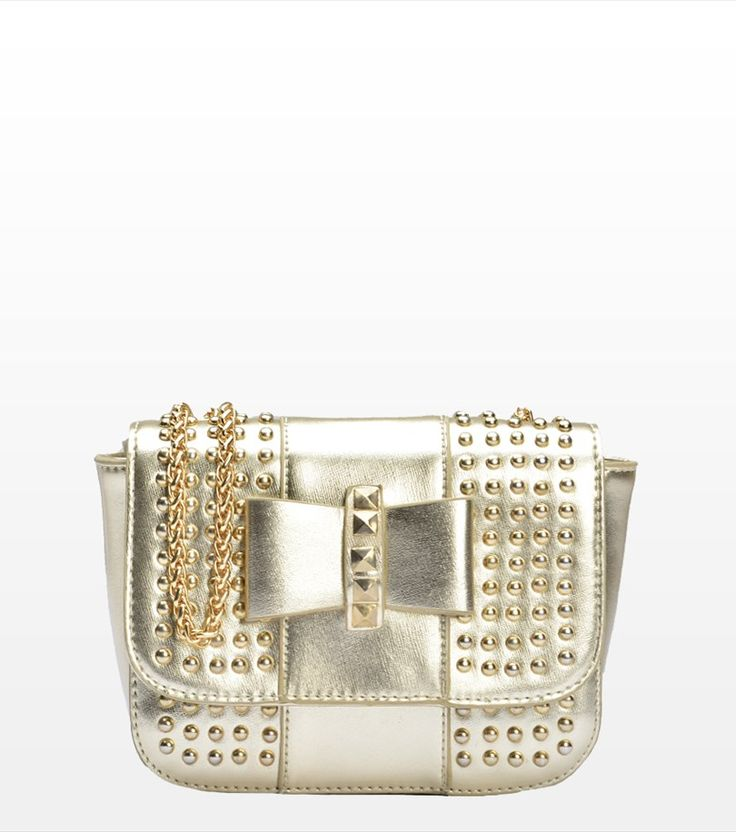Every girl needs this golden studded bag that takes you through fun nights! Studded Crossbody Bag With Bow ($20) #bag #gold #studded